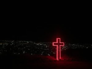 Red neon cross