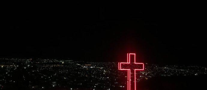 Red neon cross