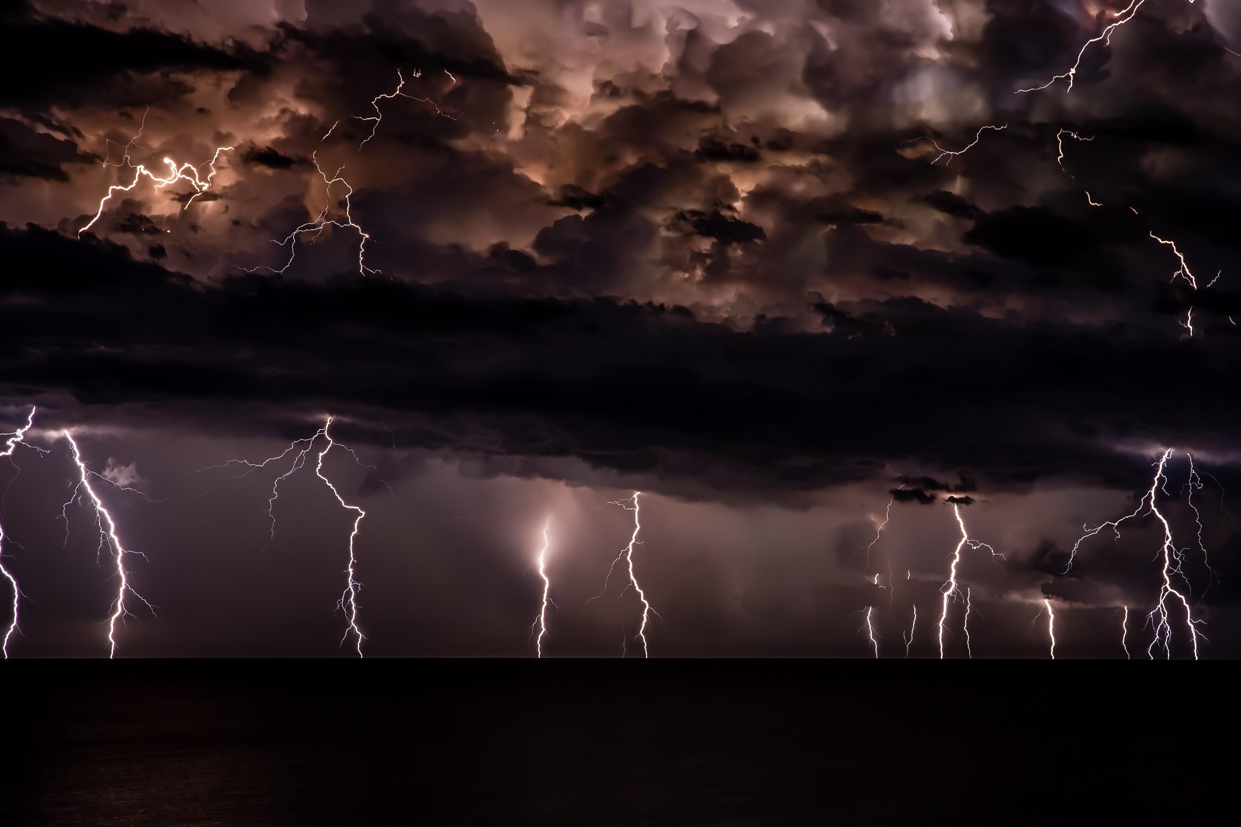 Dark clouds lightning